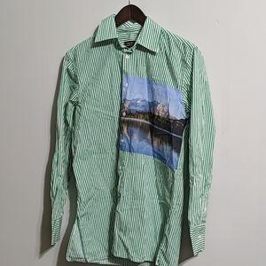 Zara men's green stripped shirt w image size S